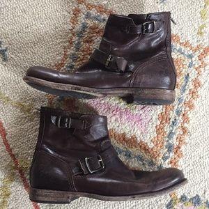 Frye Ankle Zipper Boots Dark Brown Size 11